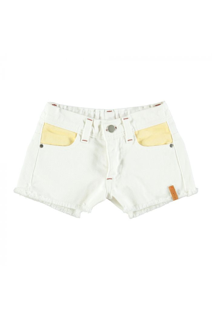 Piupiuchick Tricolor Shorts Off White, Yellow, Pink & Green_1