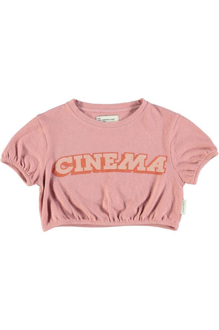 "Piupiuchick Girl T-Shirt Ballon Vintage Pink With ""Cinema"" Print_1"