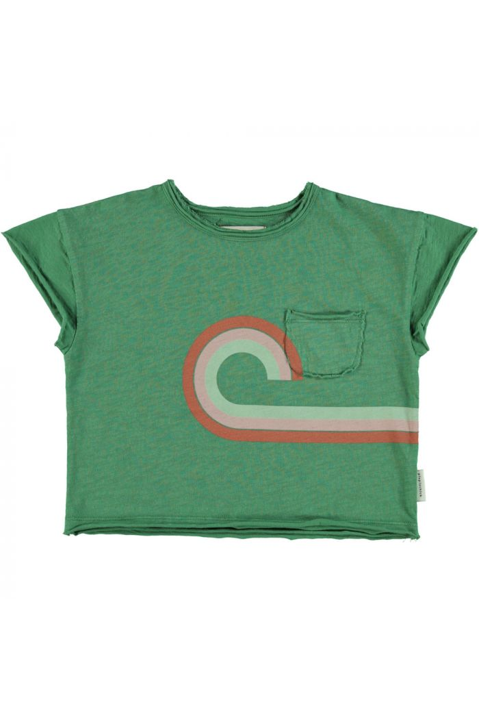 """Piupiuchick T-Shirt Green With Multicolor & """"At The Movies"""" Print_1"""