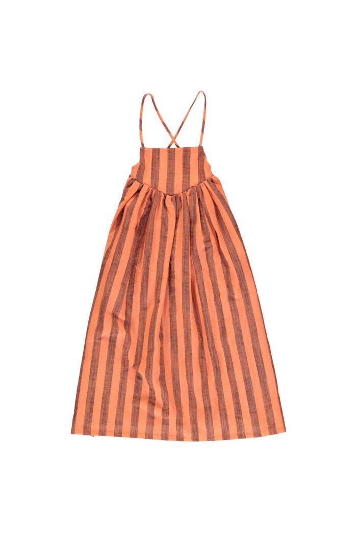 Piupiuchick Long Balloon Dress Orangeade With Stripes_1