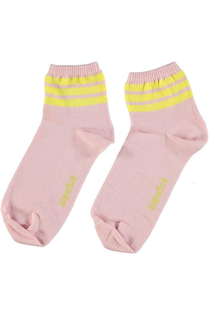 Piupiuchick Socks Pink With Yellow Stripes_1