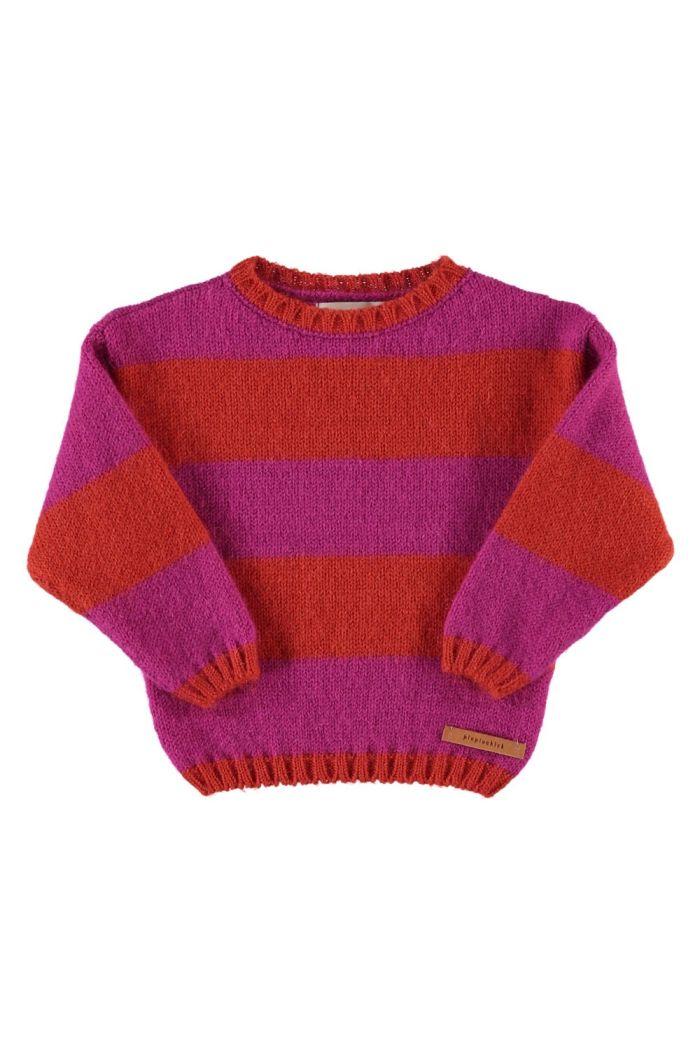 Piupiuchick Knitted Sweater Fucshia & Orange Stripes_1