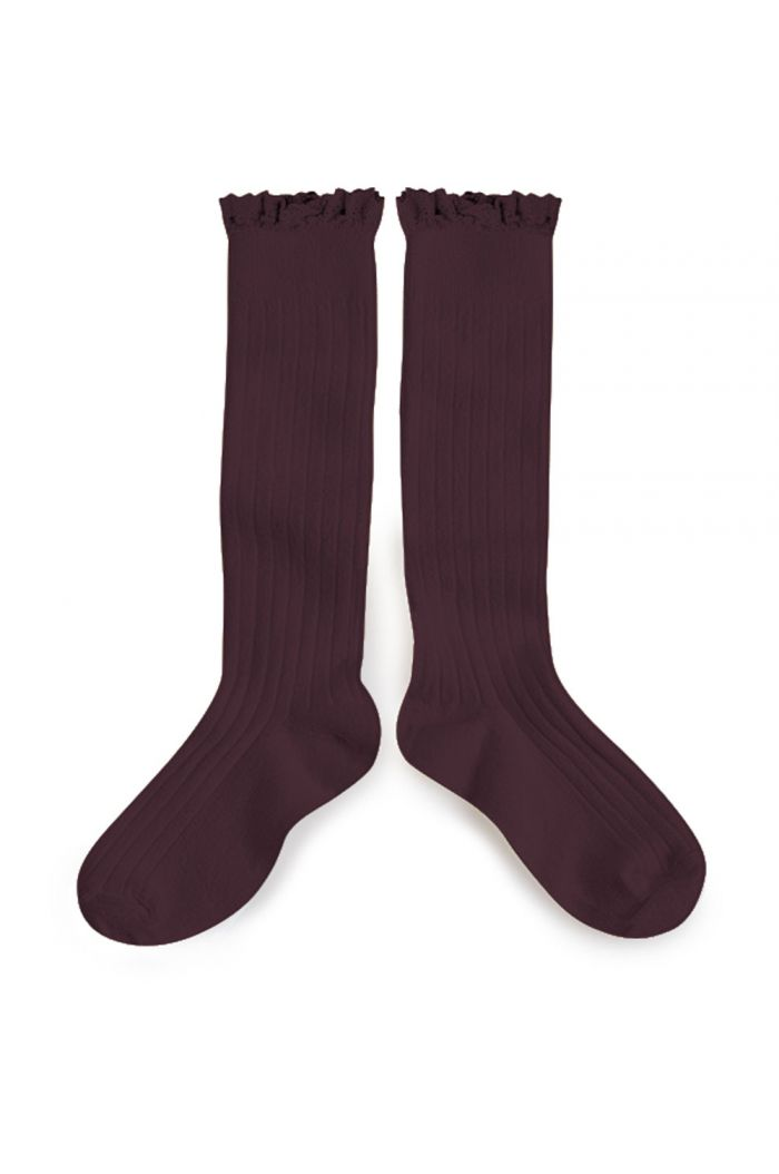 Collegien high socks with lace Aubergine