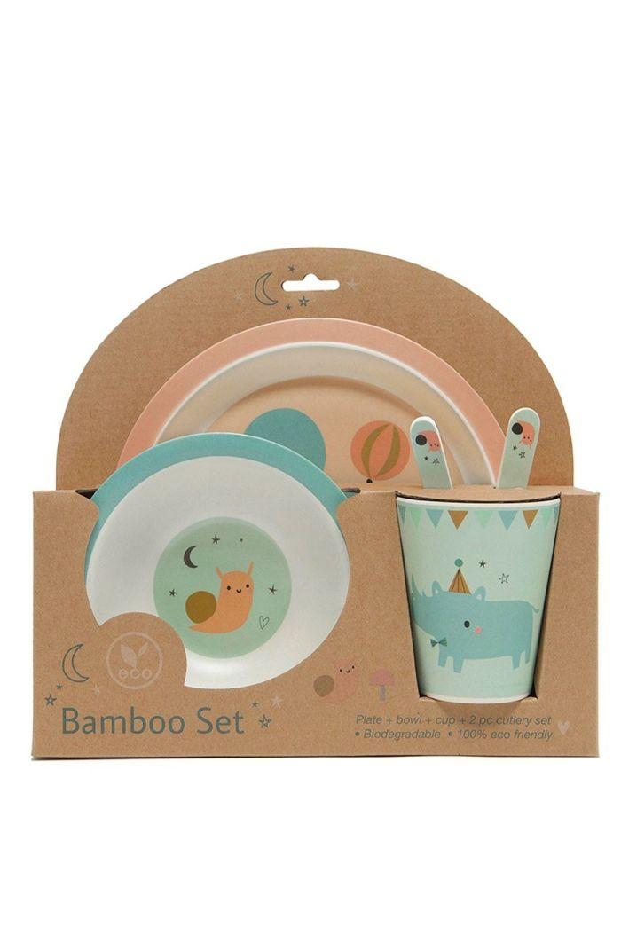 Petit Monkey Bamboo gift set Seal Peach