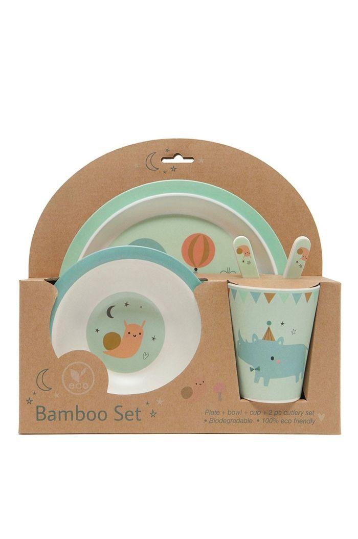 Petit Monkey Bamboo gift set Seal Celadon