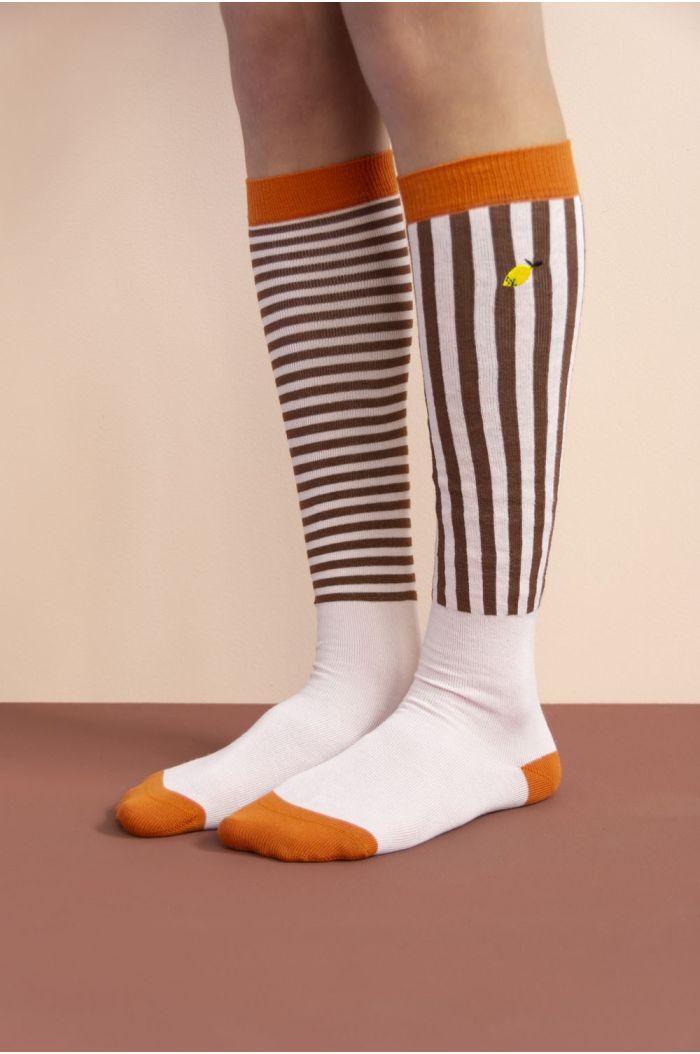 Sticky Lemon Knee High Socks stripes - peony pink
