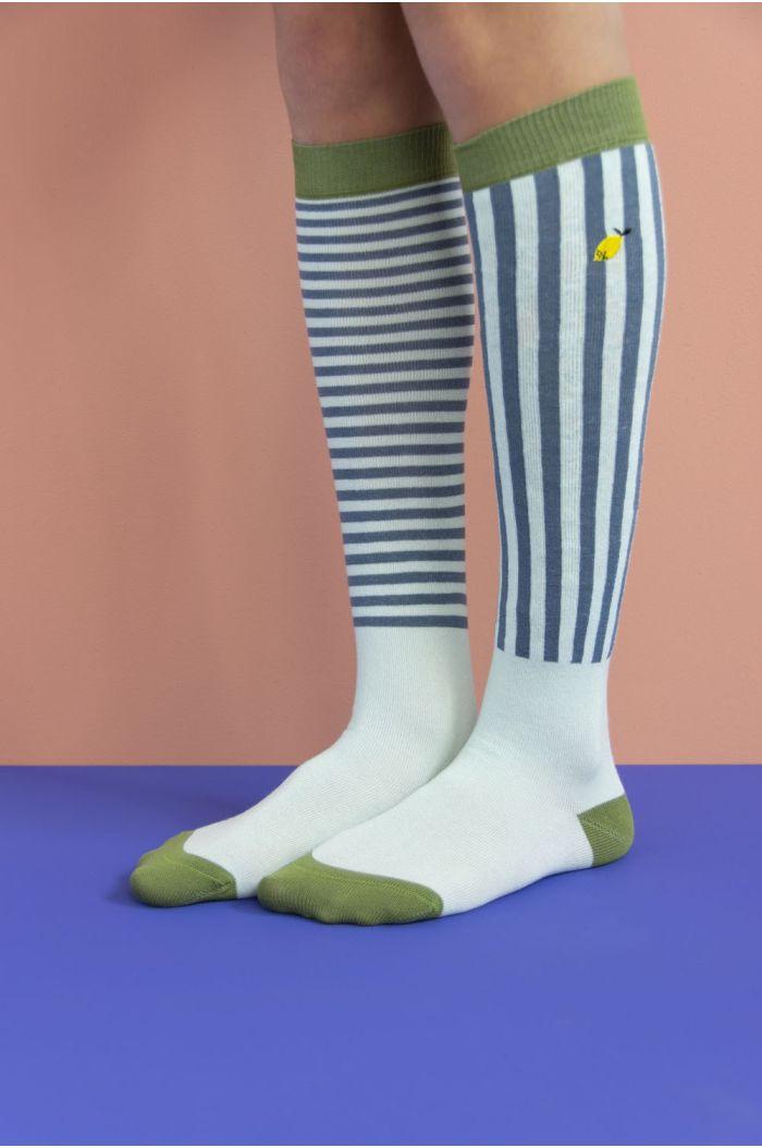 Sticky Lemon Knee High Socks stripes - misty green