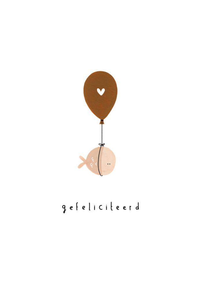 Klein Liefs kaart gefeliciteerd hart ballon