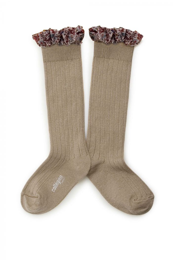 Collegien high socks with liberty  lace Petit taupe_1