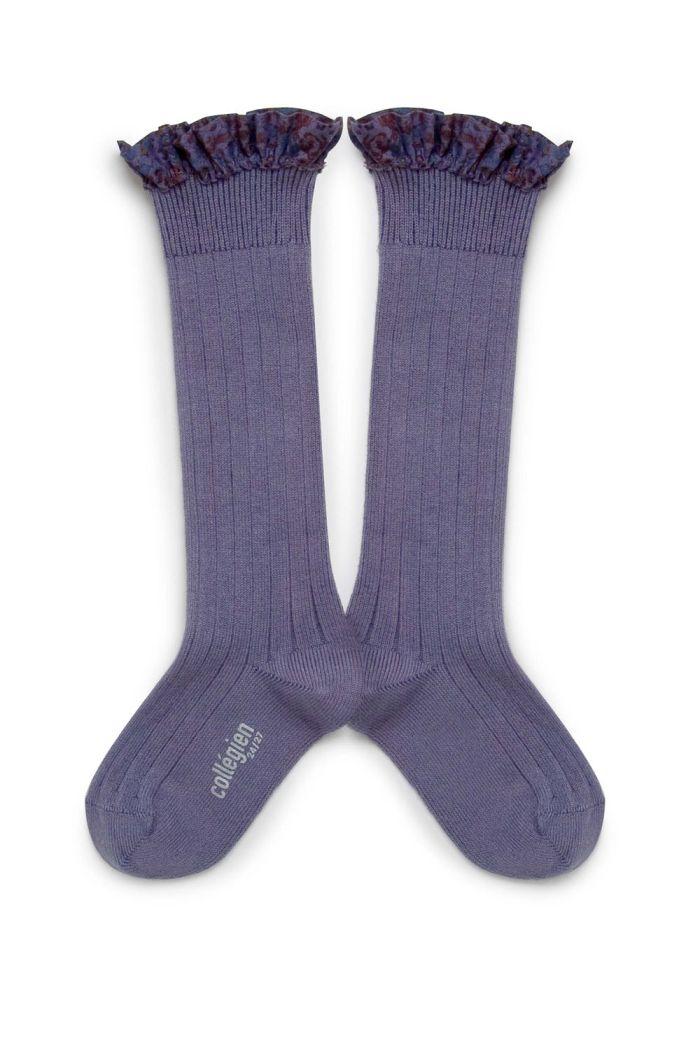 Collegien high socks with liberty  lace Fleur de Lavande_1