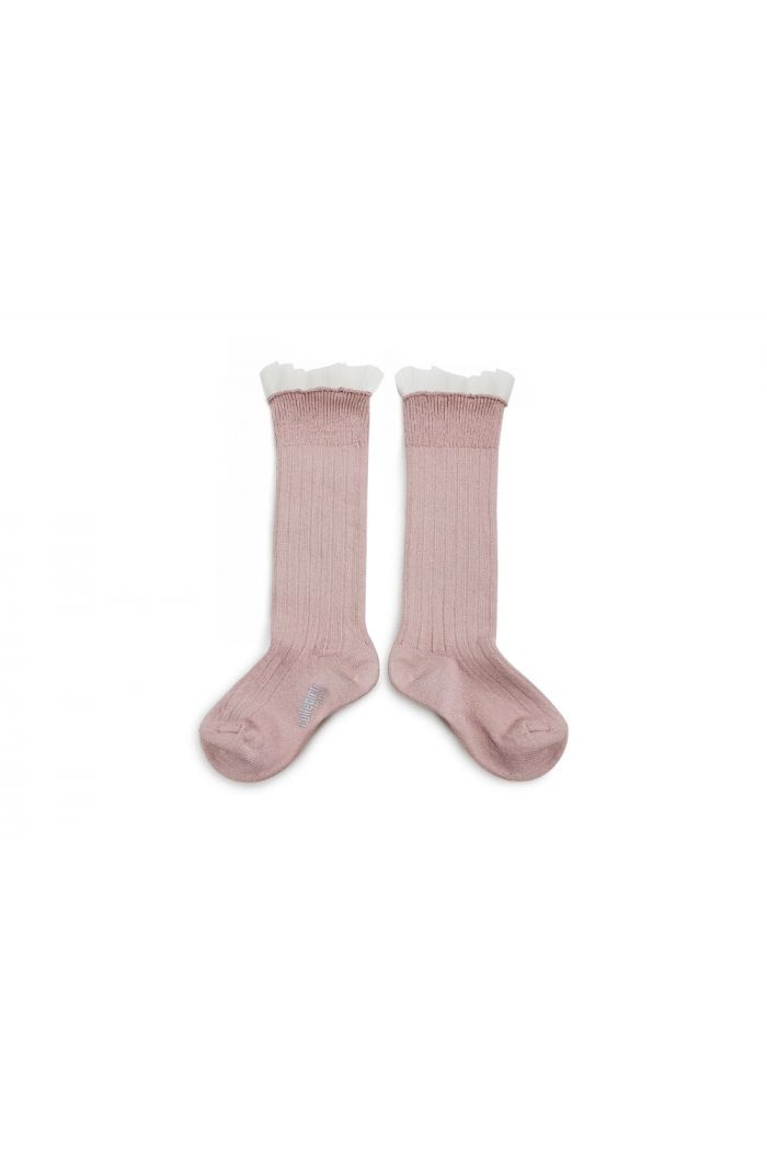 Collegien High Socks With Tulle Vieux Rose_1