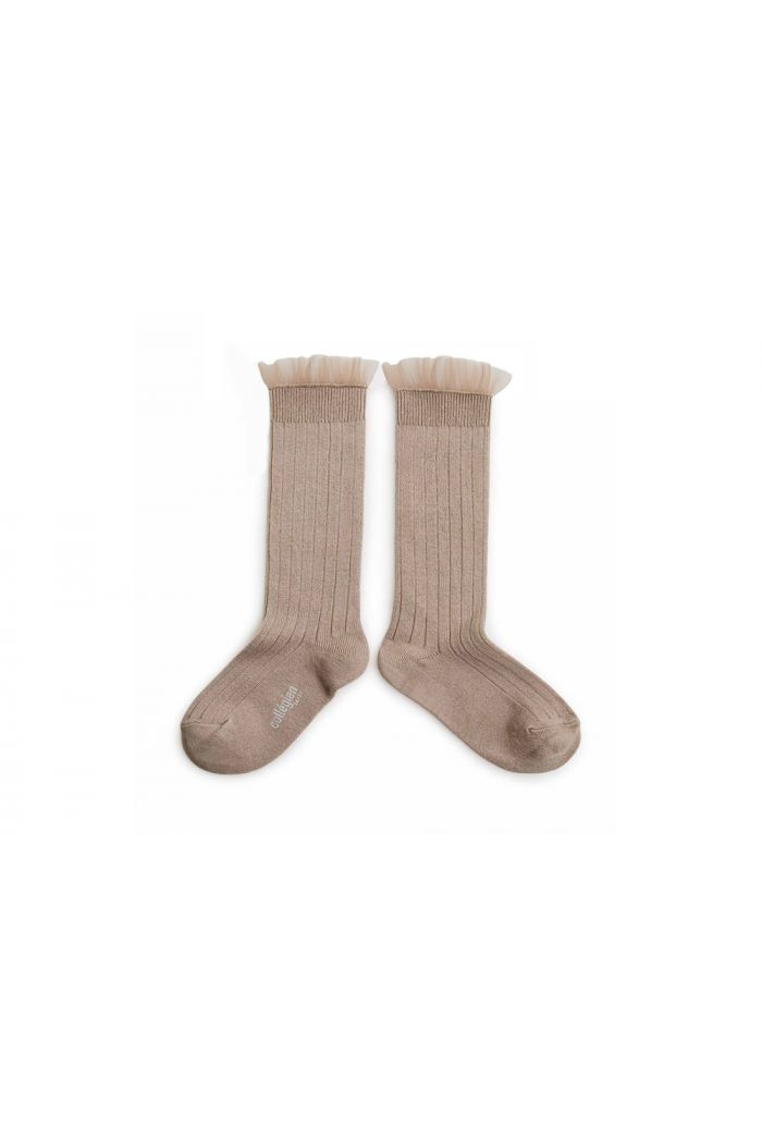 Collegien High Socks With Tulle Petit taupe_1