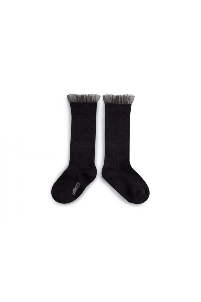 Collegien High Socks With Tulle Noir Charbon_1