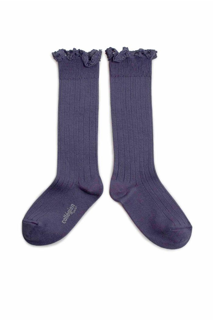 Collegien high socks with lace Fleur de Lavande