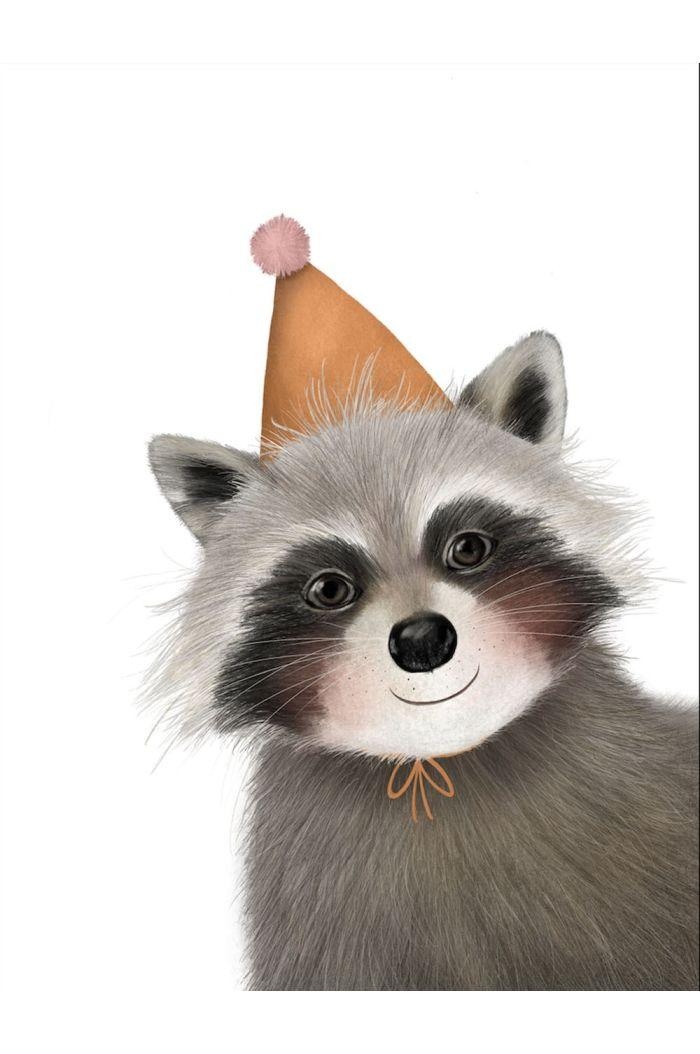 Getekenddoorzusje kaart wasbeer feestmuts _1