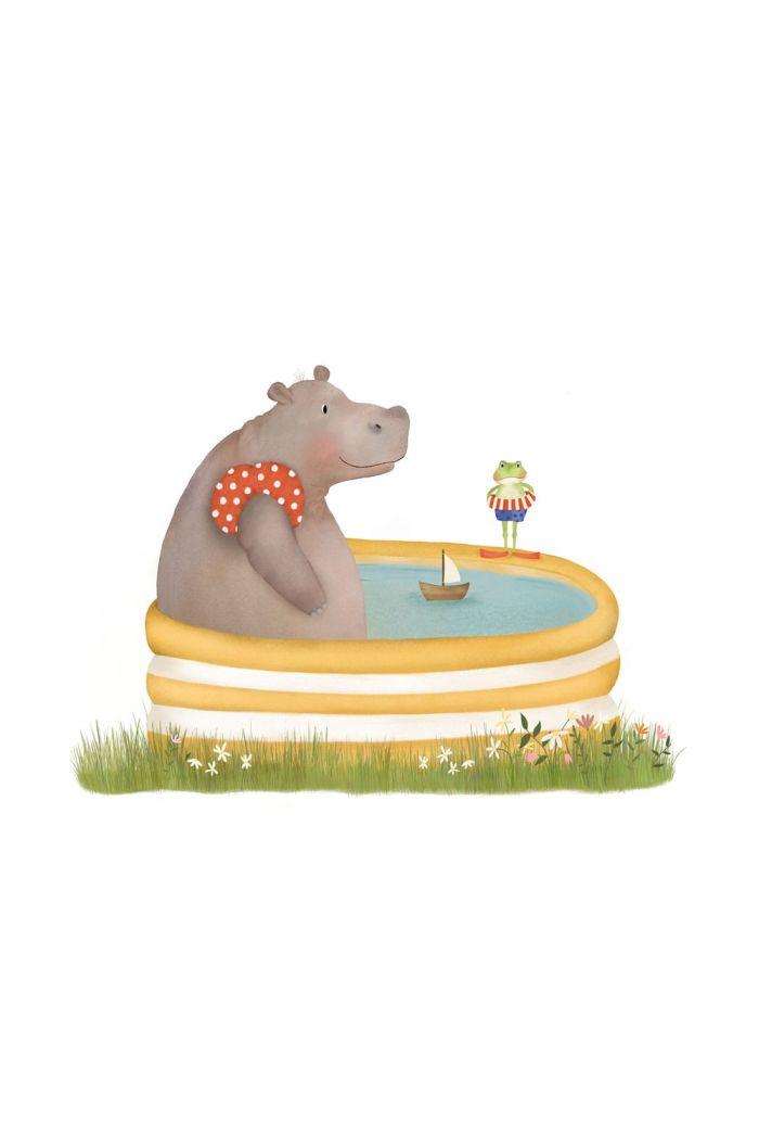 Getekenddoorzusje nijlpaard in bad _1
