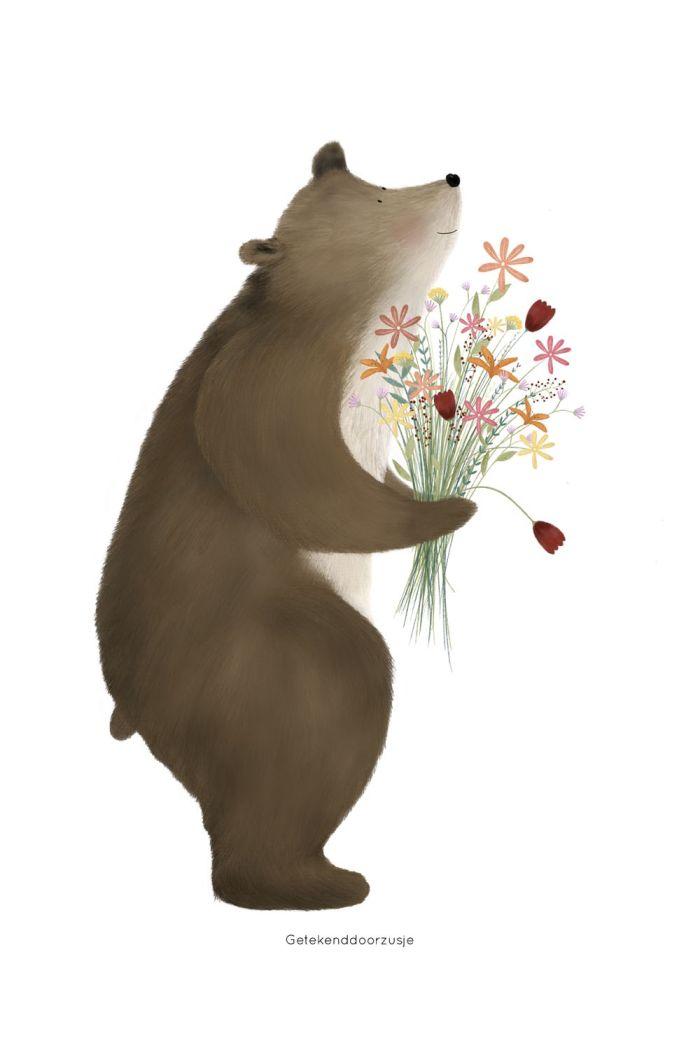 Getekenddoorzusje kaart beer met bloemen _1