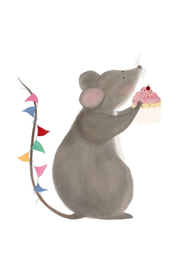 Getekenddoorzusje kaart muis met cake _1