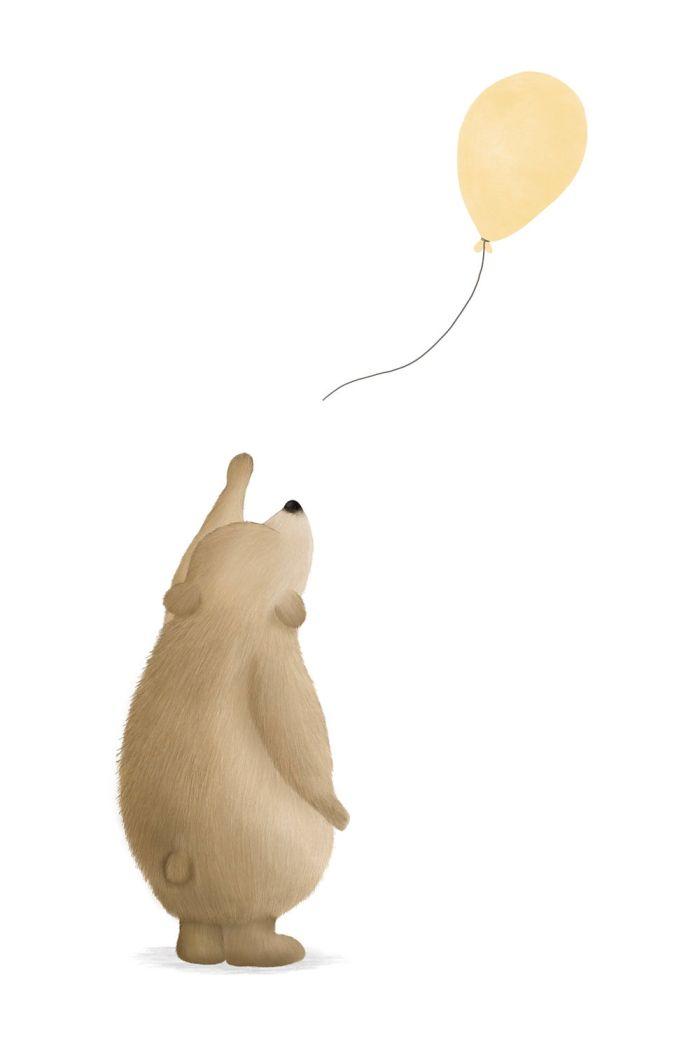 Getekenddoorzusje kaart beertje ballon geel _1