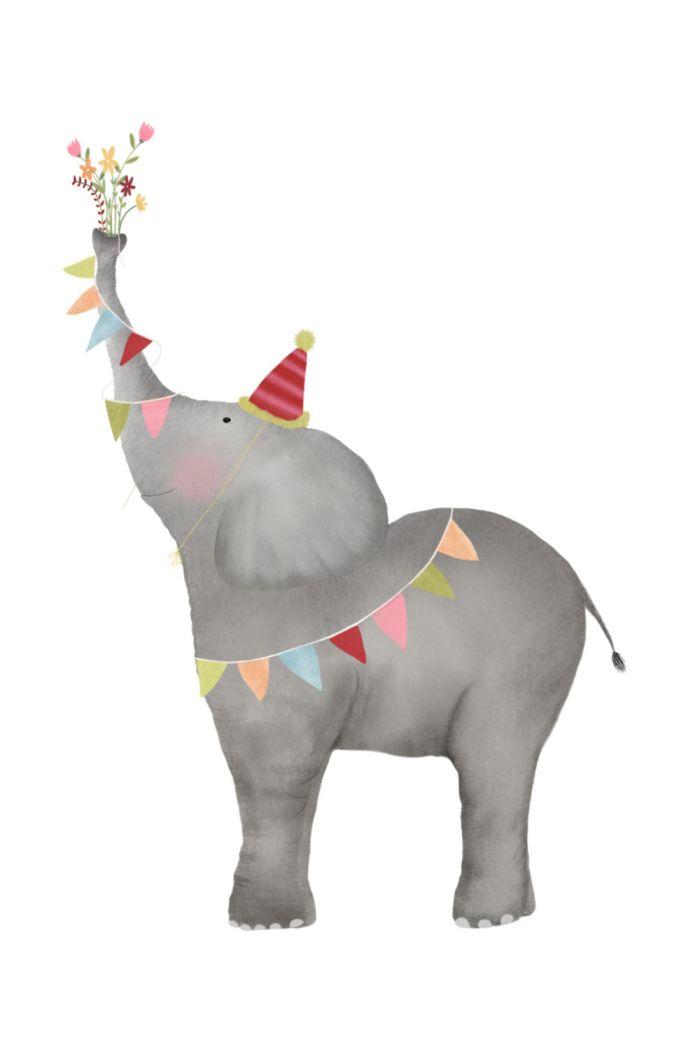 Getekenddoorzusje kaart olifant bloemen _1