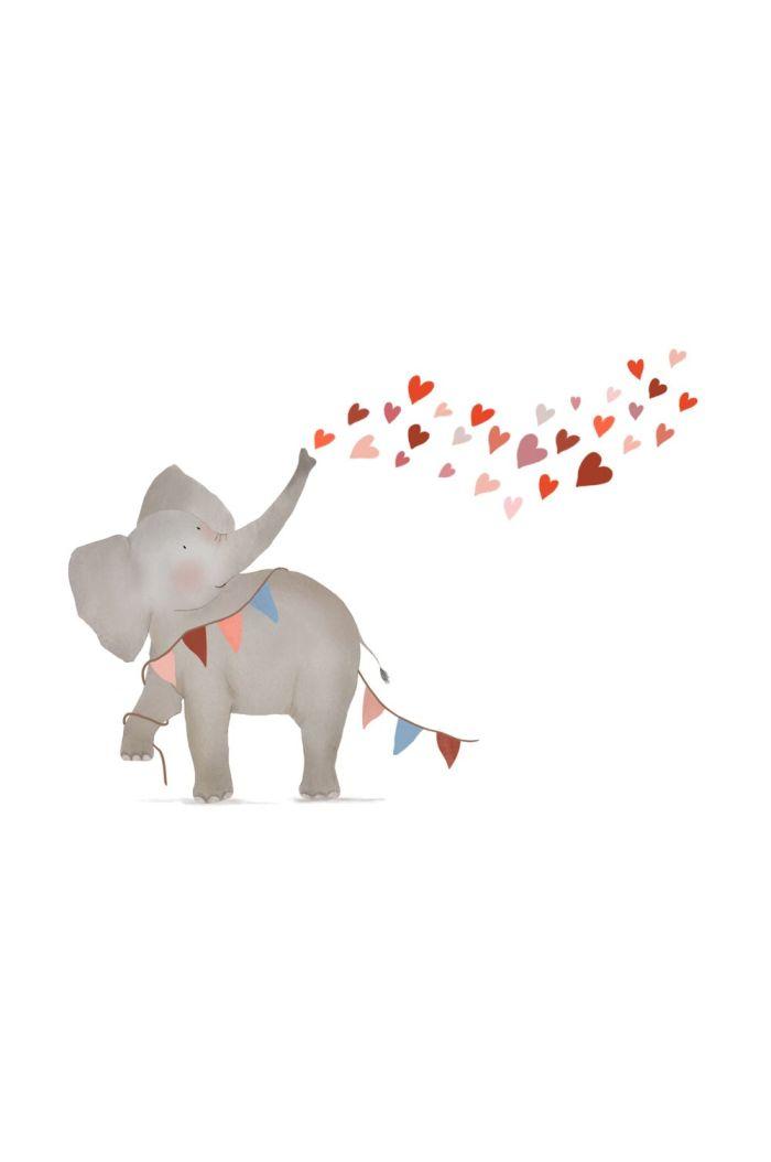 Getekenddoorzusje kaart olifant hartjes _1