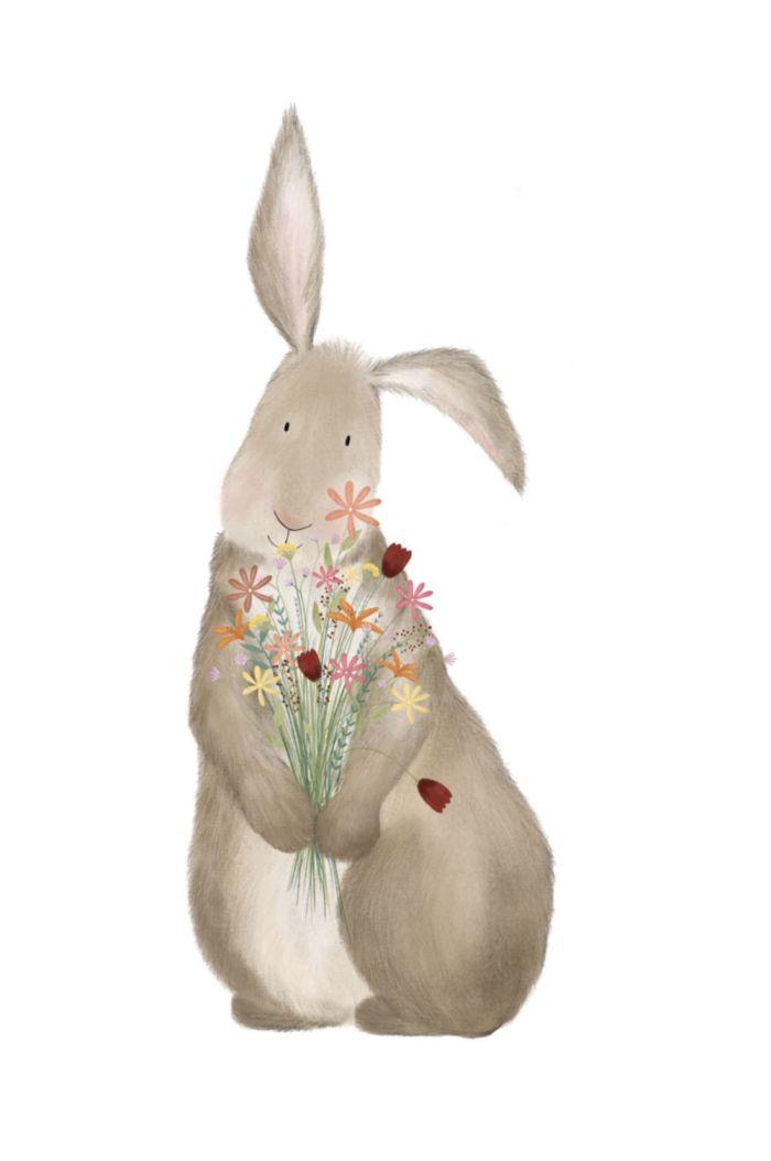 Getekenddoorzusje kaart konijn met bloemen _1