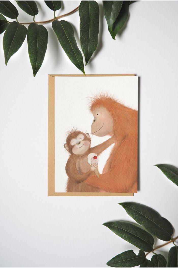 Getekenddoorzusje kaart orang oetan en ijs _1