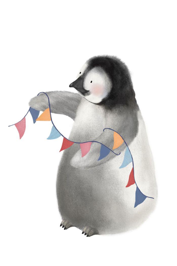 Getekenddoorzusje kaart pinguin _1