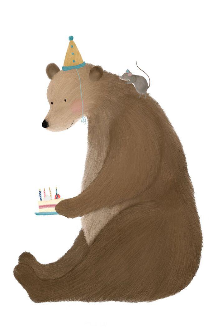 Getekenddoorzusje kaart beer met taart a5 _1