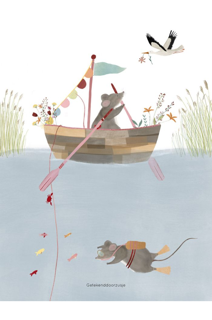 Getekenddoorzusje kaart fisher mice a5 _1