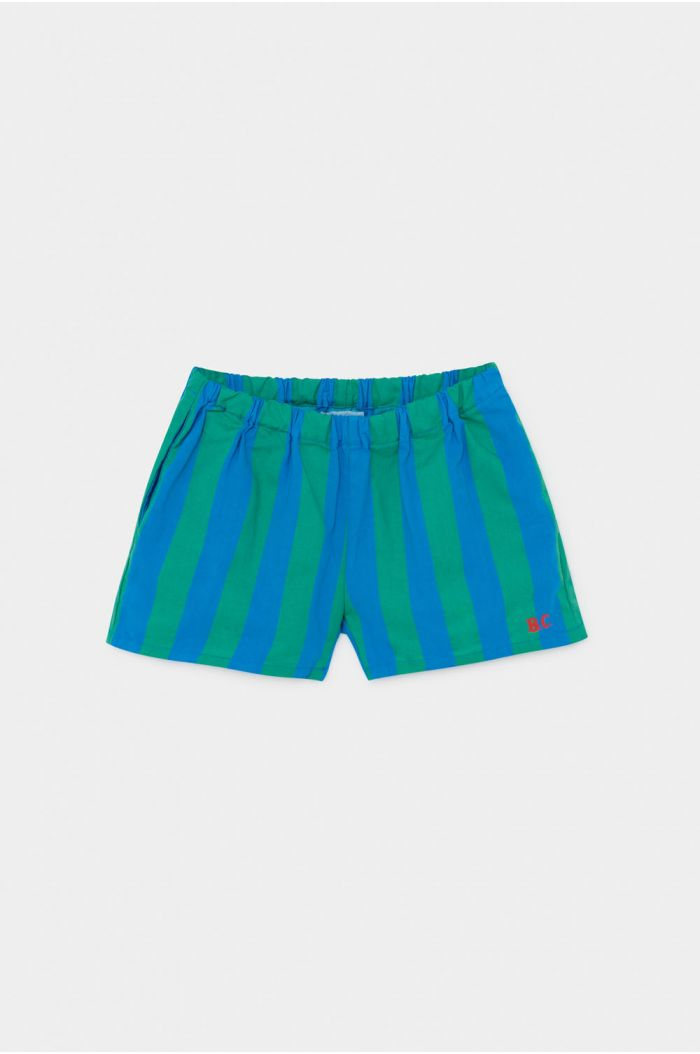 Bobo Choses Striped Woven Shorts Azure Blue