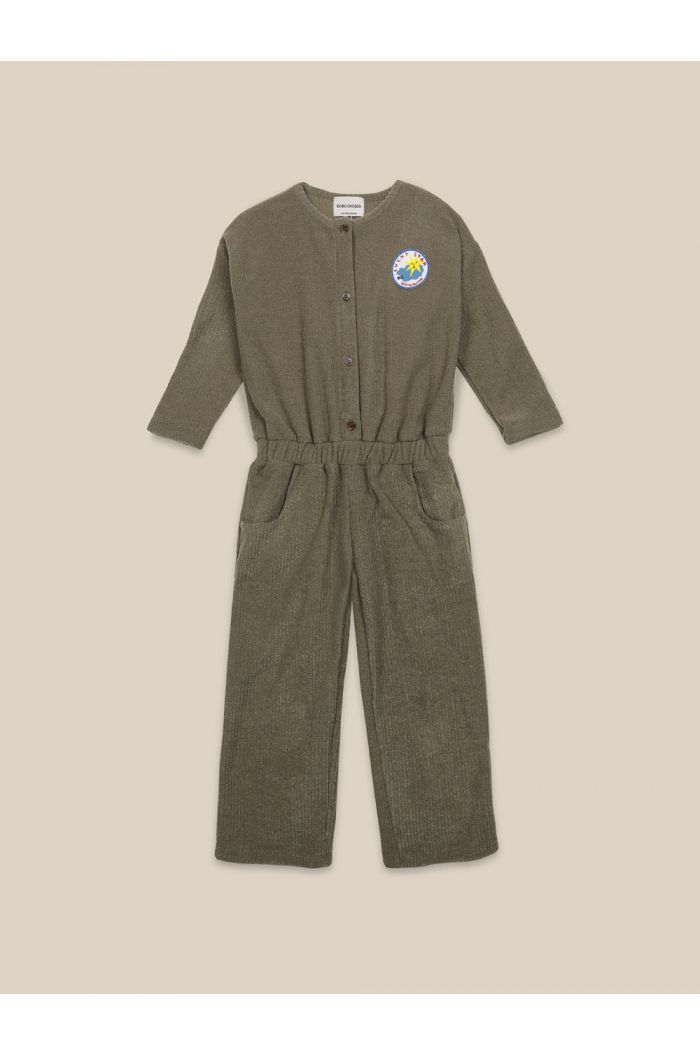 Bobo Choses Lucky Star Patch Terry Towel Overall Olive Branch_1