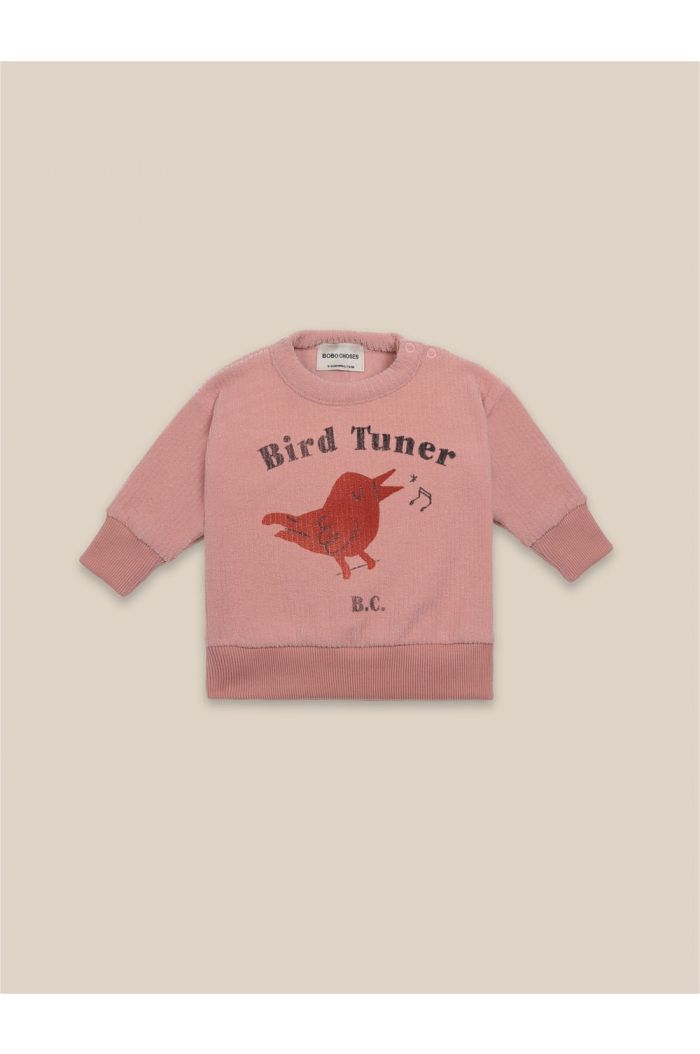 Bobo Choses Bird Tuner Terry Towel Sweatshirt Rose Tan_1