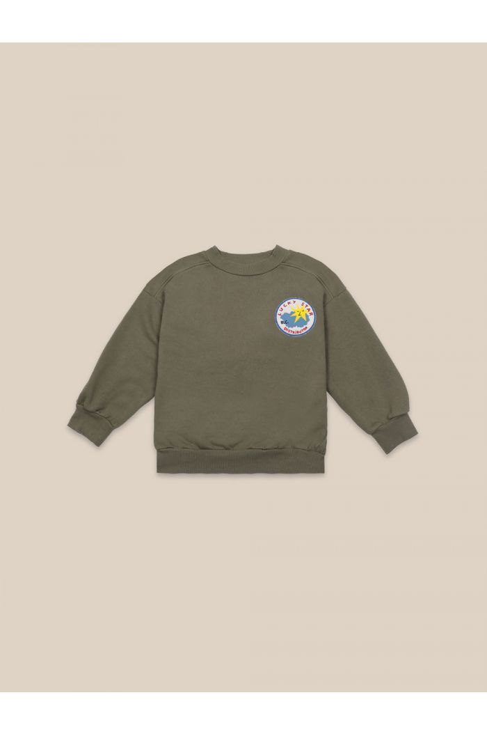 Bobo Choses Lucky Star Patch Sweatshirt Olive Branch_1