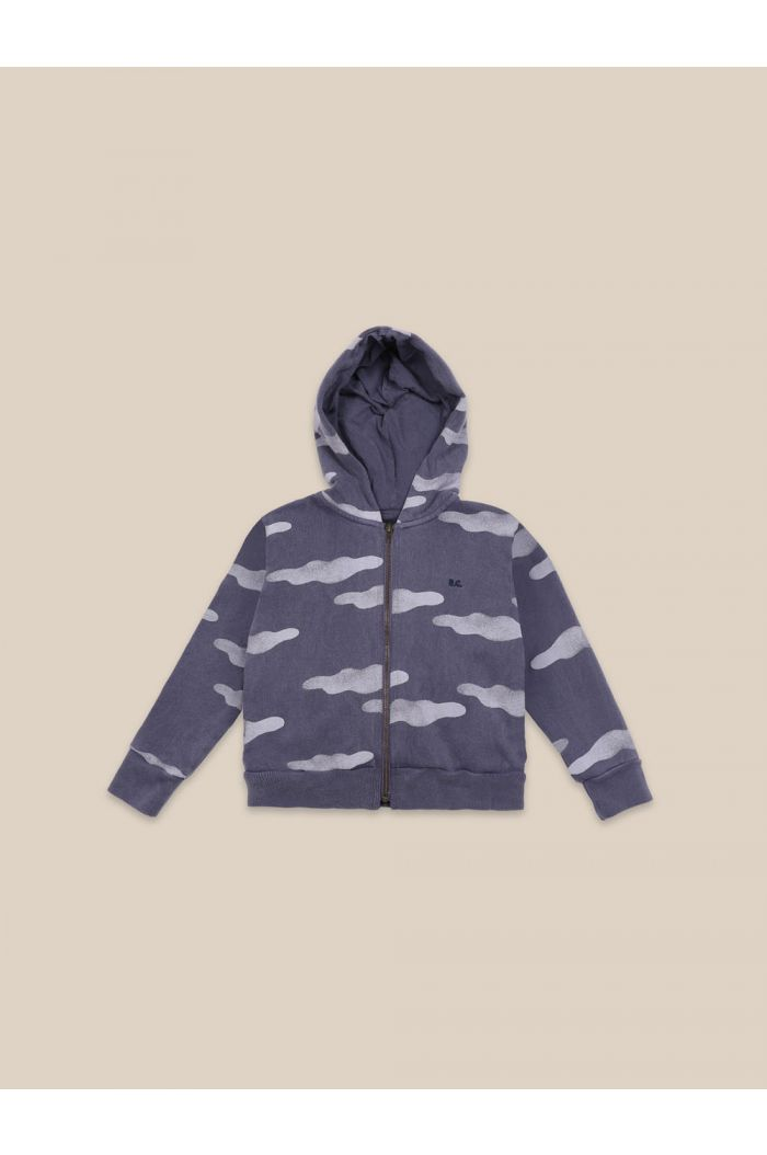 Bobo Choses Clouds All Over Zipped Hoodie Grape Compote_1