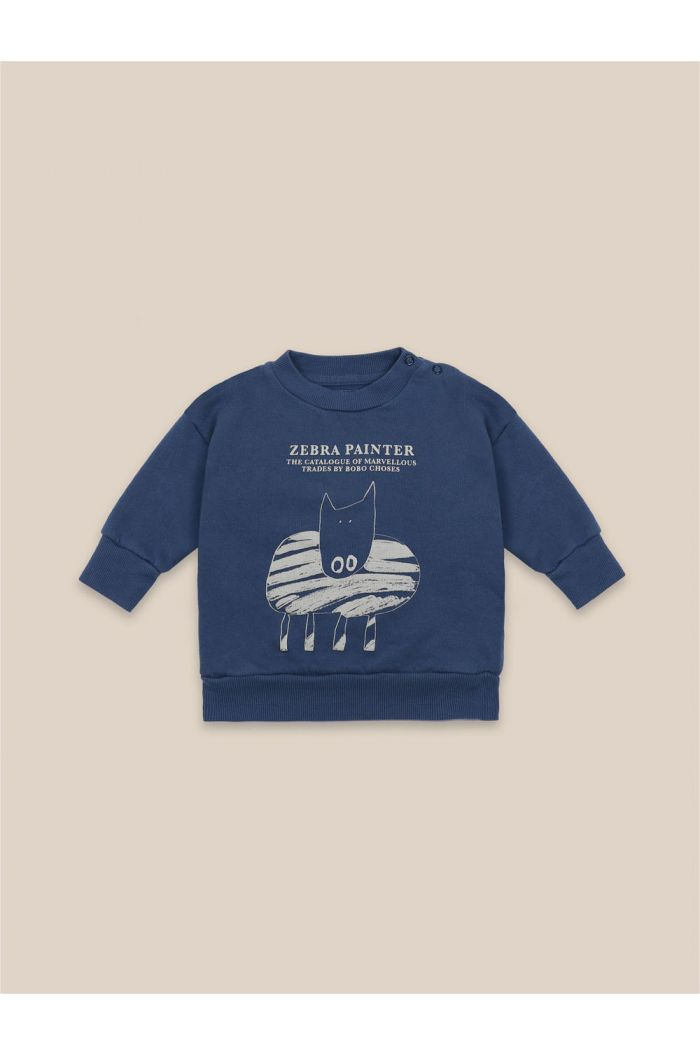 Bobo Choses Zebra Painter Sweatshirt Blue Indigo_1