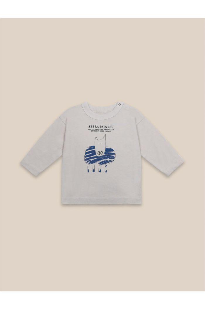 Bobo Choses Zebra Painter Long Sleeve T-Shirt Brown Rice_1