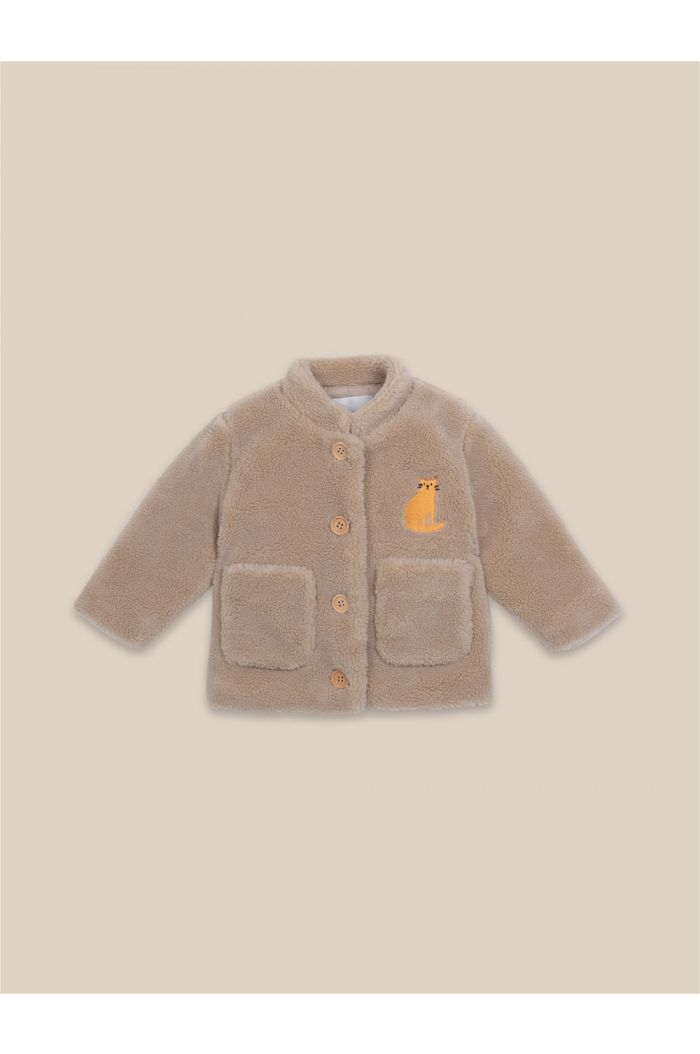 Bobo Choses Cat Patch Sheepskin Jacket Beige_1