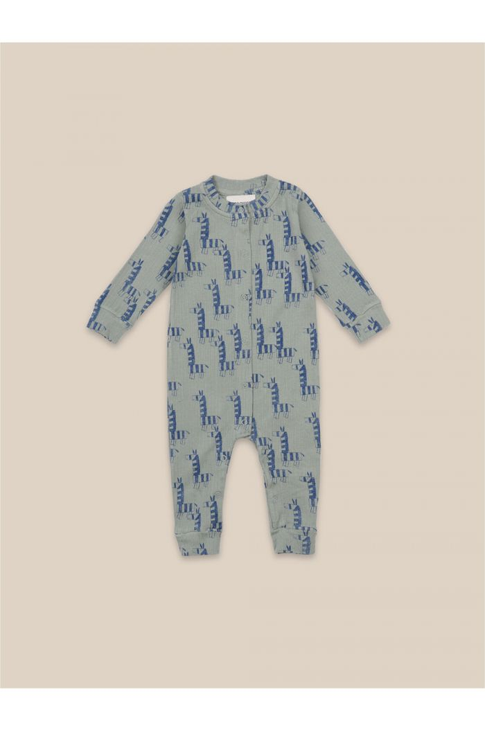 Bobo Choses Zebra All Over Jersey Overall Green_1