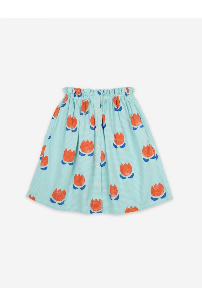 Bobo Choses Chocolate Flowers Buttoned Midi Skirt Gossamer Green_1