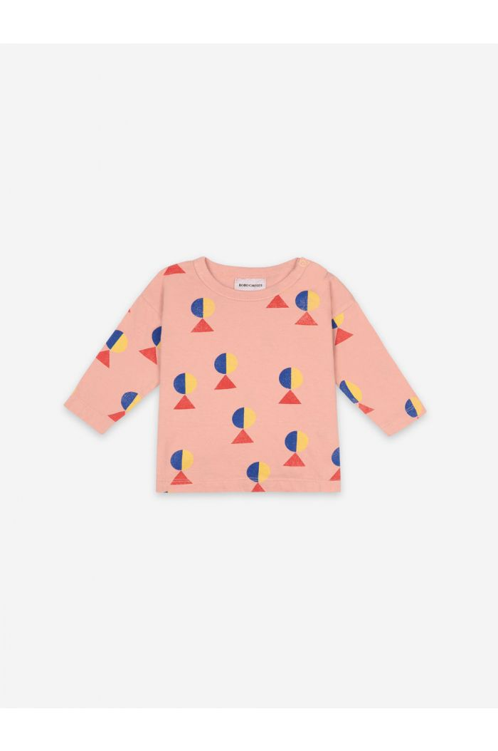 Bobo Choses Geometric All over Long Sleeve T-shirt Dusty Pink_1