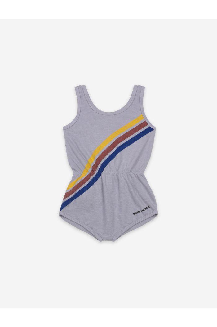 Bobo Choses Crosswise Stripes Fleece Playsuit Lavender Aura_1