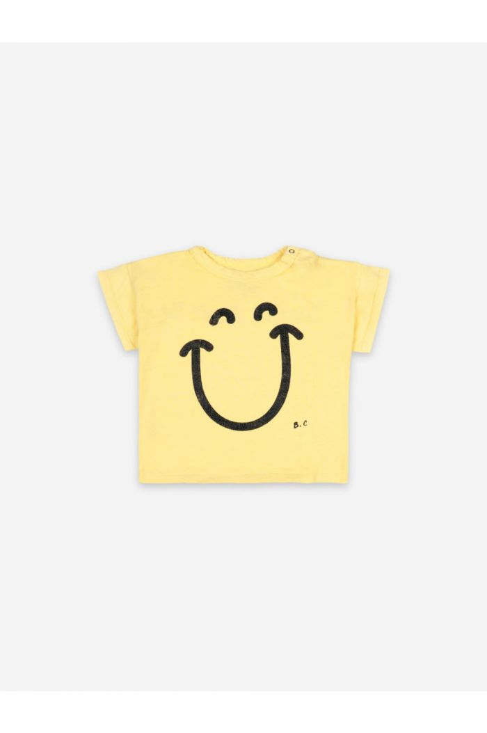 Bobo Choses Big Smile Short Sleeve T-shirt Baby Custard_1