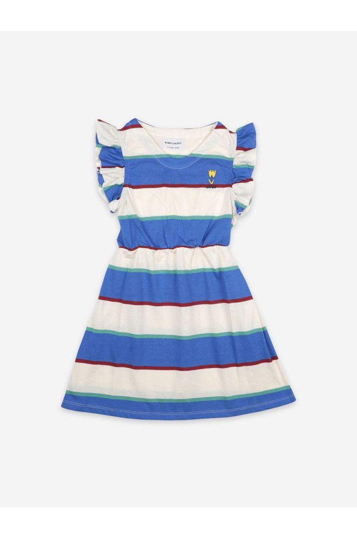 Bobo Choses Stripes Jersey Ruffle Dress Turtledove_1