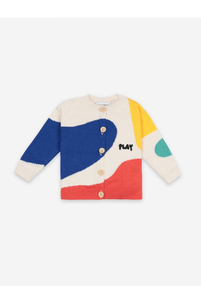 Bobo Choses Play Landscape Cardigan Turtledove_1