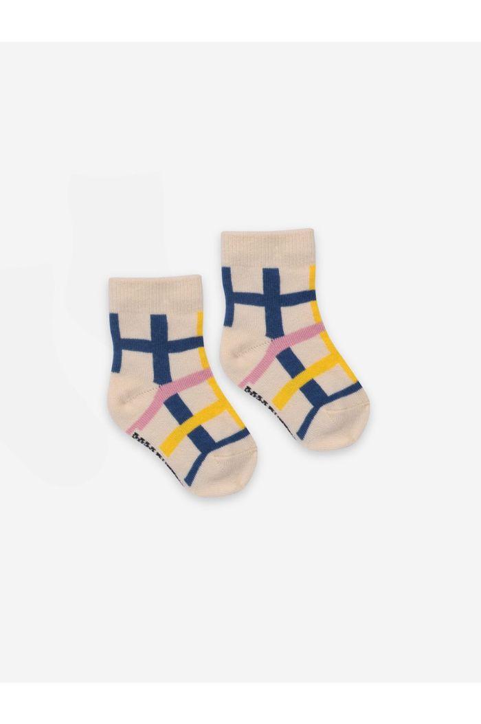 Bobo Choses Checkered Baby Socks Turtledove_1