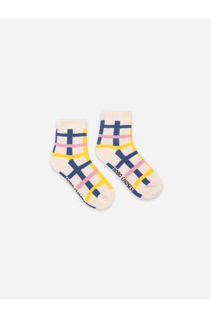 Bobo Choses Blue Checkered Short Socks Turtledove_1
