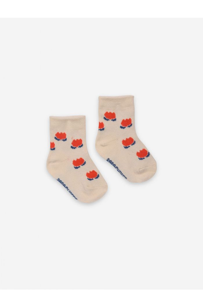 Bobo Choses Chocolate Flowers White Baby Socks White Swan_1