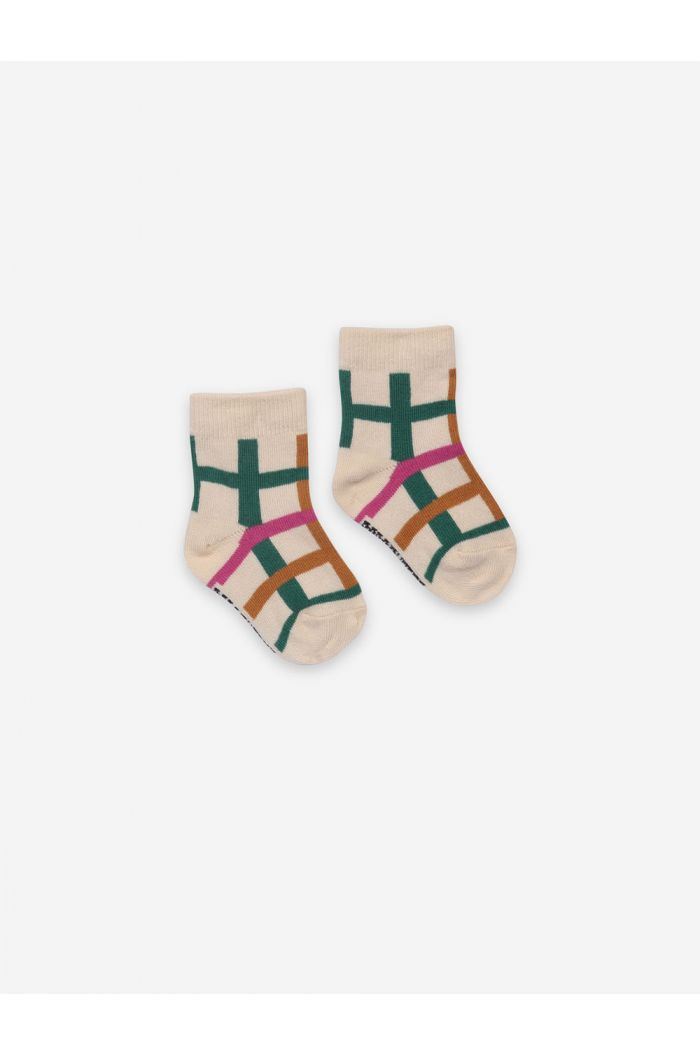 Bobo Choses Green Checkered Baby Socks Bistro Green_1