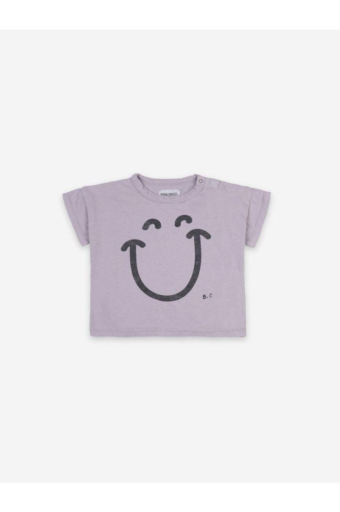 Bobo Choses Big Smile Lila Short Sleeve T-shirt Lavender Aura_1